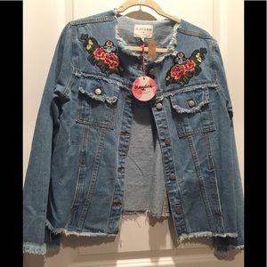 NWT Boutique Denim jacket frayed floral size M